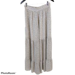 H&M Animal Print Grey Tiered Ruffleaxi Skirt sz 8